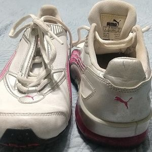 Pink/white/silver Puma Cell sneakers girls' size 4